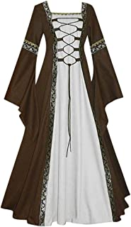 Y56(TM) Vestido de Cosplay Vintage para Mujer - Vestidos de Estilo Mediano Celta Medieval Renacentista GóTico Renacentista