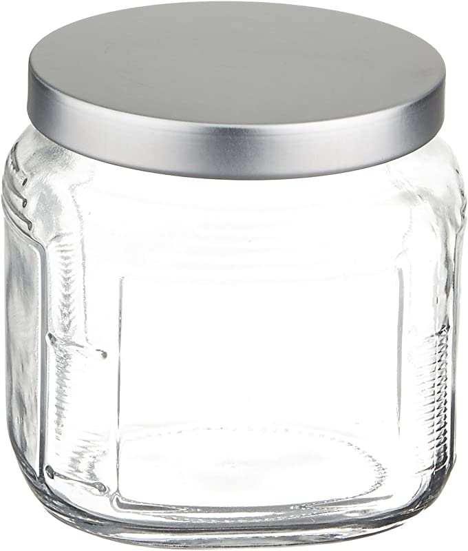 Anchor Hocking 16 Ounce Glass Cracker Jar With Brushed Aluminum Push Lid