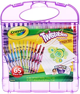 Crayola 04-2705 Mini Twistable Crayons & Paper Set, 65 Pieces Art Tools for Kids 4 & Up, Self-Sharpening No Mess Twist-Up Crayons
