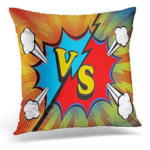 Home Decor Sofa kussensloop, vierkant kussen kussensloop, decoratieve kussensloop, gooi Lumbar kussensloop, Battle Abstract Versus Vs Fight Pop Retro Comic Style Design Action Bomb 45X45CM