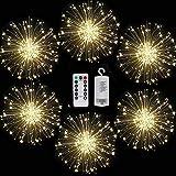 FOOING Firework Lights, Sparklers Starburst Lights LED Copper Wire Fireworks Lights Remote Control Waterproof String Lights Patio Lights Christmas Lights Outdoor Decorative String Lights (6, White)