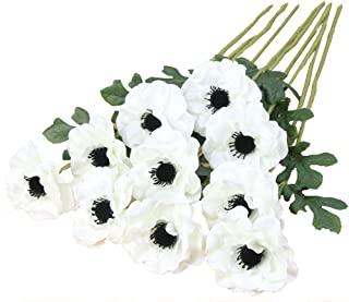 Htmeing 10pcs Artificial Anemone Full Blooming Flower Bushes with Green Foliage for Mother's Day or Decoration for Home, Restaurant, Office & Wedding (White)