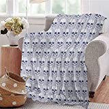 ERshuo Skull Children's Blanket Skulls and Geometric Shapes with Vertical Stripes Optical Effects Illustration Lightweight Soft Warm and Comfortable Navy Blue White 50' X 60' 48x60IN