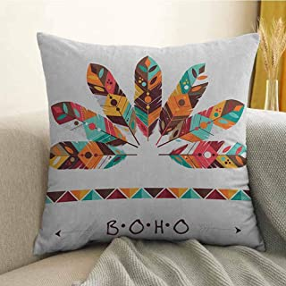 FreeKite Boho Pillowcase Hug Pillowcase Cushion Pillow Pastel Colored Artistic Feathers Native Primitive Tribal Cultures Abstract Ornament Anti-Wrinkle Fading Anti-fouling W20 x L20 Inch Multicolor