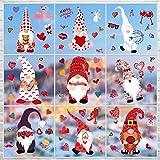 9 Hojas Pegatians de Ventana de San Valentín Decoraciones Calcomanías de Ventana de Gnomo Adornos de Ventana de Corazón Materiales para Boda Navidad Fiesta
