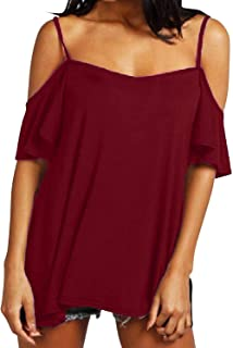 ZANZEA Womens Cold Shoulder Tops Sexy Casual Summer T Shirt Tee Short Ruffle Sleeve Spaghetti Strap Blouses