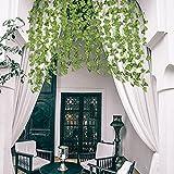 YUEMA Kunstpflanzen Geführtes Schnur-Licht Lichterkette Grünes Blatt Efeu-Rebe für Haus Hochzeitsdeko Lampe DIY Hängenden Garten-Yard-Beleuchtung 2M 20 Leds (1PCS)