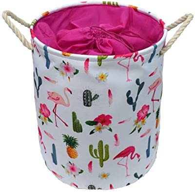 Baby Bucket Storage Cartoon Animals Baskets, Collapsible and Convenient Nursery Hamper/Laundry Basket Bin/Toy Collection Organizer for Kids Room – (Pink Birds)