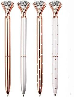 LONGKEY 4PCS Diamond Pens Ballpoint Pen Bling Metal Ballpoint Pen Office and School, Silver/White Rose Polka Dot/Rose Gold/Rose Gold with White Polka Dots, Including 4Pen Refills.