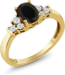 Black Onyx and White Topaz 925 Yellow Gold Plated Silver Ring 0.63 Ct Oval (Available 5,6,7,8,9)