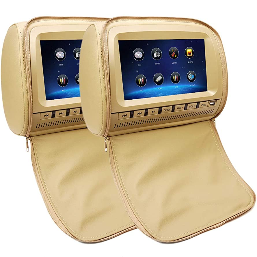 2x9 inch Touch Screen 1080P Car Headrest DVD Player Video Monitor with Leather Cover Zipper FM&IR Transmitter Games for Kids Road Trips Entertainment System (Beige)