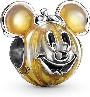 Pandora Disney Micky Maus Kürbis Charm aus Sterling Silber, Kompatibel mit Pandora Moments Armbänder, Höhe: 13mm, 799599C01