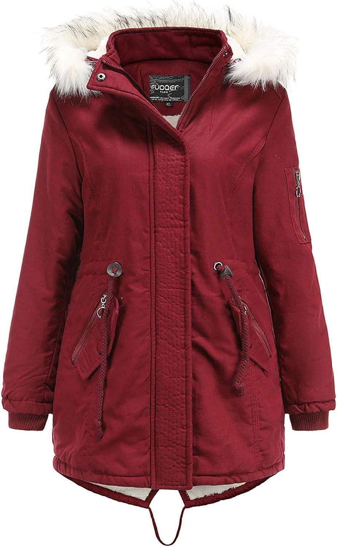 HGWXX7 Womens Jacket Faux Fur Hood Fleece Lined Parka Jacket Plus Size Zip Up Waist Drawstring Winter Coats with Pocket Red