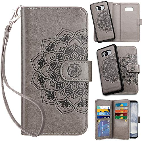 Vofolen 2-in-1 Case for Galaxy S8 Case Wallet Credit Card Holder ID Slot Detachable Strap Hybrid Protective Slim Hard Shell Magnetic PU Leather Folio Pocket Flip Cover Case for Galaxy S8 Mandala Grey