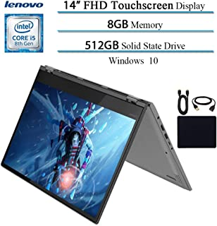 Lenovo, Flex 6 14'' 2in1 X360 Convertible FHD Touchscreen IPS Thin Light Laptop, Intel 4 Cores i5-8250U, 8GB RAM, 512GB Pcie SSD, HDMI, Backlit Keyboard, Fingerprint Reader, Windows 10 W/Accessories