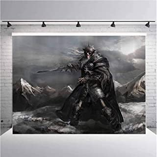 Fantasy World Decor Photography Background Cloth Dead Skeleton Soldier Skull in The War Area Holding Sword Against The Enemy Winter Theme for Photography,Video and Televison 5ftx3ft