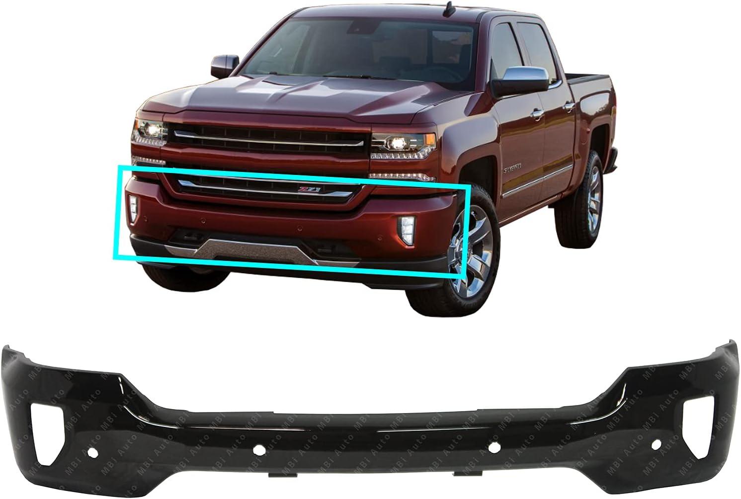 Amazon Com Bumpers That Deliver Primered Steel Front Bumper Face Bar Compatible With 2016 2018 Chevy Silverado 1500 W Fog Park Assist 16 18 Gm1002863 Automotive