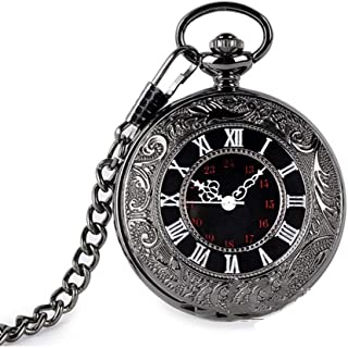XMhbzy Vintage Roman Numerals Scale Quartz Pocket Watch with Chain