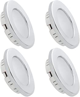 Dream Lighting 3W Chrome Warm White LED Recessed Under Cabinet Down Lights 70mm Detachable Plated Dome Lamps RV Caravan Mo...