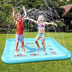 Tappeto con grande fontana d'acqua per bambini: 170 cm di diametro irrigatore, tappeto fontana per bambini, fornisce una maggiore area di gioco. Il tappeto irrigatore può alimentare la fontana in modo continuo. Un sacco di divertimento! Facile da all...