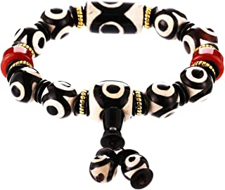 Prime Fengshui Protective Black White Combination Tibetan Dzi Beads Bracelet Amulet Bangle Attract Positive Energy and Goo...