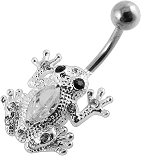 Dark Blue Crystal Stone Fancy Skull Movable Mouth Sterling Silver Belly Button Rings