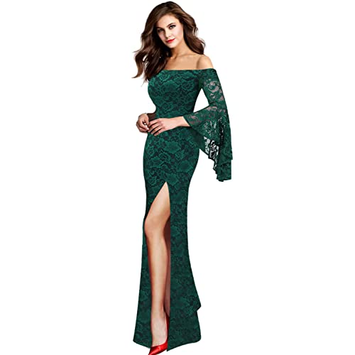 70da1e1be4a VFSHOW Womens Off Shoulder Bell Sleeve High Slit Formal Evening Party Maxi  Dress