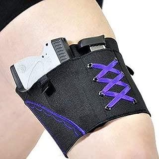SUHAPPY Woman Leg Holster Lady Anti-Slip Adjustable Six Hook-and-Eye Garter Pistol Holder