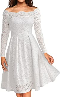 Women on sale Vintage Off Shoulder Lace Formal Evening Party Long Sleeve Dress