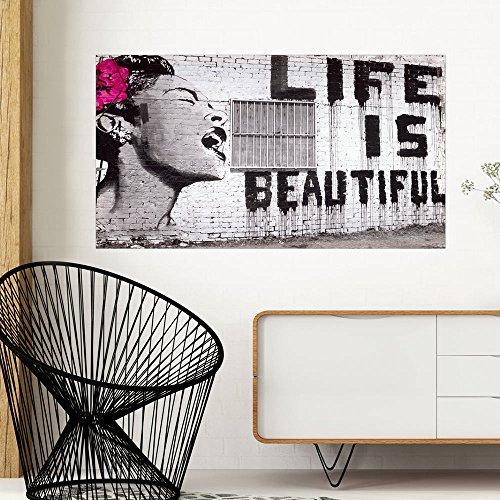 murando - VLIES Poster 90x50 cm Wandbild - Kunstdruck - Bild - Fototapete - Dekoration - Design Banksy Life is Beautiful Frau grau f-A-0319-c-a