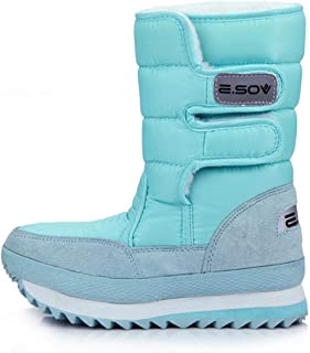 Women's Snow Boots with Waterproof Surface and Cozy TPR Sole for Winter Warm-up with Buckle Shoes