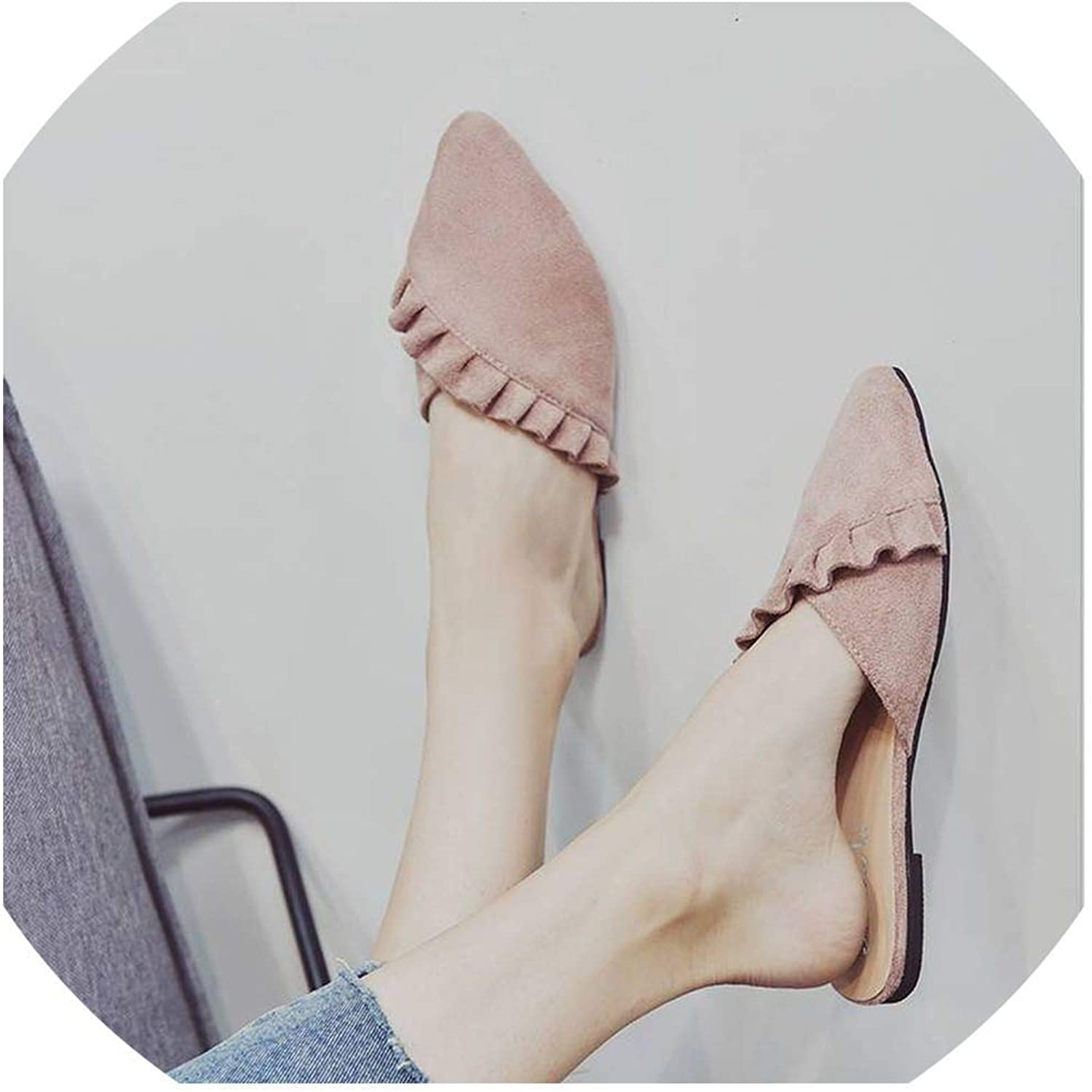 YOU LOOK PRETTY Pointed Toe Women Leather Flat shoes Pleated Summer shoes Flats