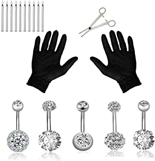 Jconly 20Pcs Professional Belly Piercing Kit 14G Belly Button Rings for Women Girls Navel Rings CZ Body Piercing, Belly Piercings …