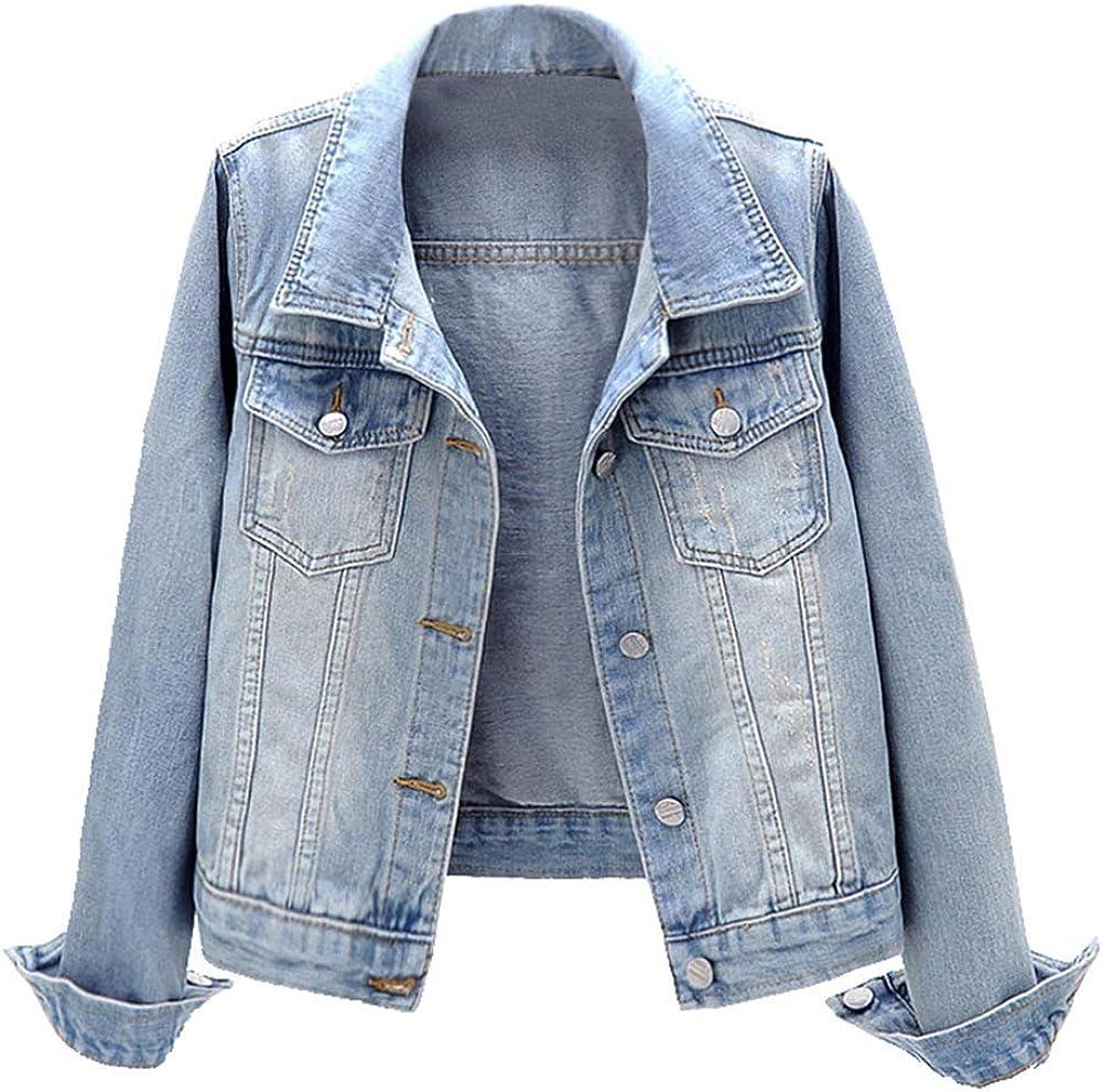 KEDERA Women Denim Jackets Distressed Button Down Long Sleeve Classic Jean Jacket Coats