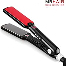 MBHAIR Flat Iron Hair Straightener, 1-3/5 Inch Titanium Plate, Professional Straightening Iron, Automatic Temperature Adjustable 170-450 ℉ for all Hair Types,Digital LCD Display, Fast Heating, Dual Vo