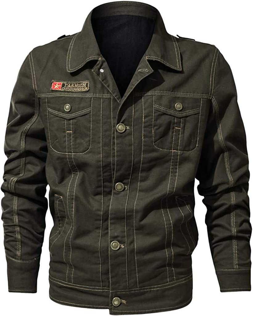eipogp Men's Vintage Military Jackets Solid Lightweight Coat Windproof Windbreaker Lapel Collar Outwear with Multi Pocket