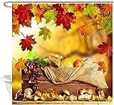 Acción de Gracias Temporada de Cosecha Cortinas de Ducha de baño Casa de Granja de otoño Frutas y Verduras en Madera rústica con Cortina de Ducha de Arce Fallig