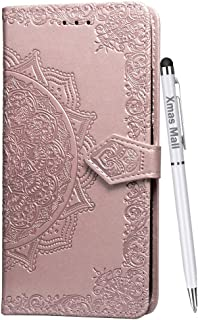 Xmas Mall Case for LG W30 Pro Premium PU Emboss Mandala Leather Flip Standing Case Cover with Free Dual Use Pen, Rose Gold