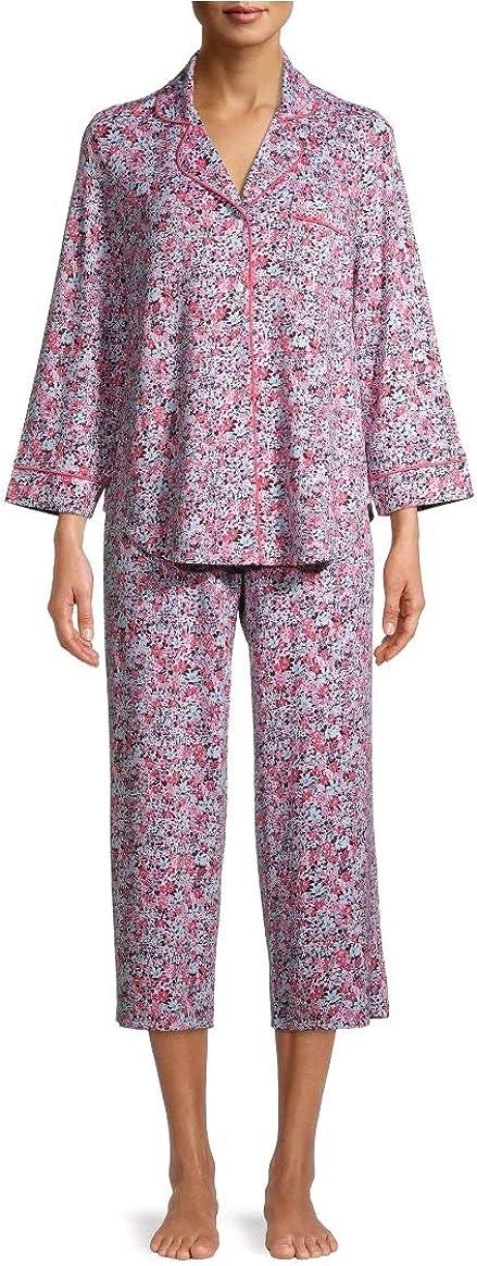 Floral Limited price sale Arctic White free 3 4 Sleeve Collar Set Sleep Notch Pajama
