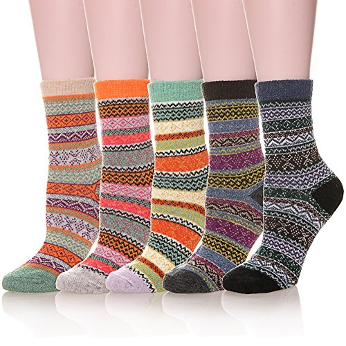 Womens 5 Pairs Soft Thick Comfort Casual Cotton Warm Wool Crew Winter Socks (5 Pack Mixed Color)