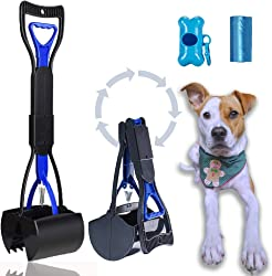 ABERTEM Non-Breakable Dog Pooper Scooper for Large Dogs with Foldable Long Handle - Upgraded with Durable Spring for Easy Grass and Gravel Pick Up, Complete Set