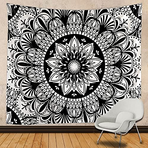 Tapiz de árbol blanco y negro Mandala indio Brujería Tapiz hippie Tapiz de encaje decorativo bohemio Tela colgante A3 150x200cm