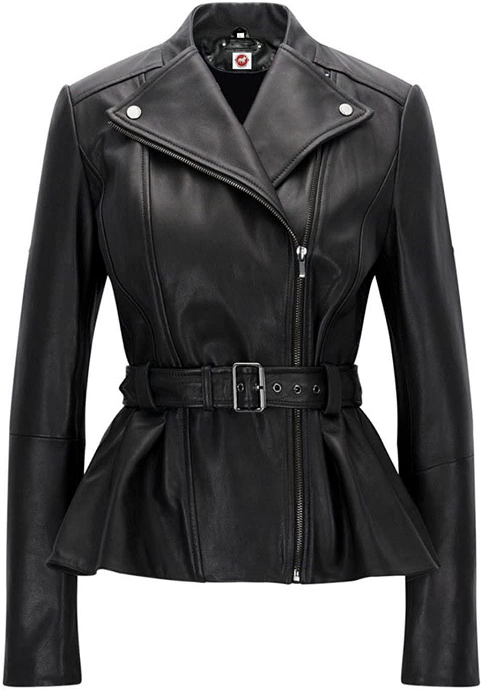 Same day shipping Takitop Belle Black Blazar Trench Coat Real Peplum latest Belted Leathe