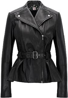 Belle Black Blazar Trench Coat Belted Peplum Real Leather Jacket Women
