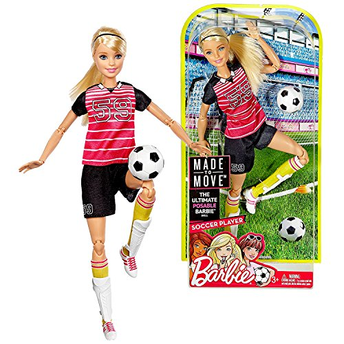 Barbie Mattel Year 2016 Made to Move Series 12 Inch Doll - Soccer Player (DVF69) with Shin Pads and Soccer Ball