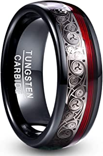 VAKKI 8mm Black Dome Tungsten Carbide Ring with Celtic Spiral and Red Guitar String Comfort Fit Size 7-12.5