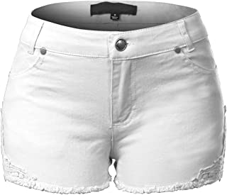 Design by Olivia Women's Casual Stretchy Denim Jean Shorts with Pockets White L