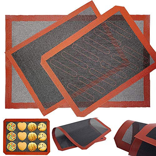 Silicone Hollow Baking Mat Set 3Pcs NonStick Oven Liner Perforated Mesh Pad Breathable Fiberglass Baking Mat Heat-Resistant Cooking Bakeware Mat for Ovens and Microwaves Double-sided Available.
