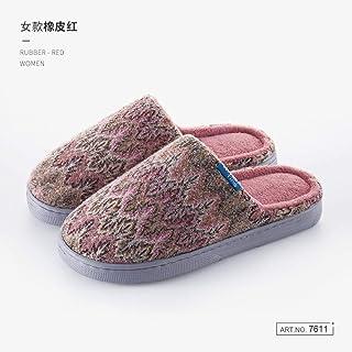 Zapatillas De Casa Para Mujer,Otoño E Invierno Vintage Pareja Stripe Zapatillas De Algodón Antideslizante Rojo Cálido Zapatillas De Felpa De Silencio Interior Femenina Fondo Blando Home Zapatos Có
