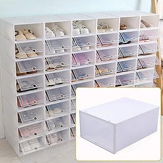 Lot de 24 boîtes de rangement pliables pour chaussures - Boîte à chaussures empilable - Blanc transparent - 33 x 23 x 14 cm